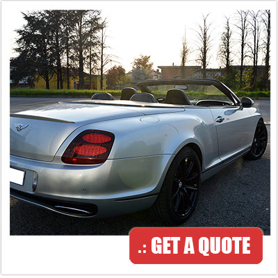 Bentley Continental Convertible for rent Italy front